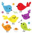 bird icon set cute cartoon colorful character vector image