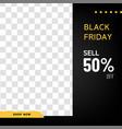 black friday sale banner for social promotion vector image vector image