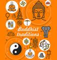 buddhism religion and meditation symbols vector image vector image