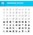 business office line web glyph icons vector image vector image