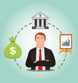 businessman with bank bag money and presentation vector image