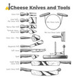 cheese knives and tools vector image vector image