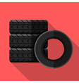 Colorful car tires icon in modern flat style with vector image
