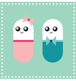Couple of cartoon pill characters vector image vector image