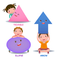 Cute little cartoon kids with basic shapes ellipse vector image