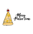 funny christmas greeting card with pizza vector image vector image