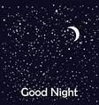 good night card with moon and stars vector image