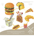 hand drawn fast food round concept vector image vector image
