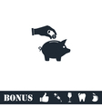 Hand pick down coin into pig money box icon flat vector image vector image