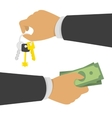 Hand with money and keys vector image vector image