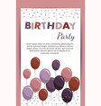 happy birthday card with balloons birthday party vector image vector image