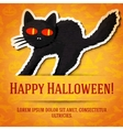 Happy halloween greeting card with black startled vector image vector image