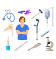 Healthcare set with nurse and medical equpment