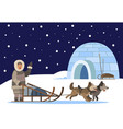 inuit passing igloo on sledges with husky dog vector image