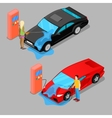 Isometric Hand Car Wash Driver Washing Car vector image vector image