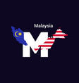 malaysia initial letter country with map and flag vector image vector image