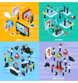 Media Network Isometric Template vector image vector image
