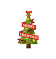 merry christmas pine tree on vector image