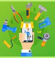 online order repair stuff app in smartphone vector image
