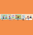people buy at the mall interior of a supermarket vector image