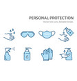 personal protection line icons set vector image