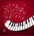 Piano keys keyboard with notes music symbol on vector image
