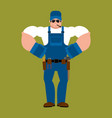 plumber strong fitter serious powerful service vector image vector image