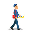 postman in blue uniform with red bag delivering vector image vector image