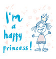 print princess typography for girl clothes vector image