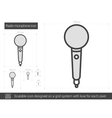 Radio microphone line icon vector image vector image