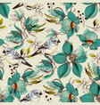 retro seamless pattern cute flowers and birds vector image vector image