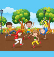 scene with many children dancing in park vector image vector image