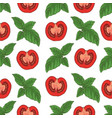 seamless pattern tomatoes and basil vector image vector image