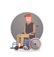senior man on wheel chair grandfather gray hair vector image