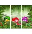set of three cartoon dinosaurs vector image