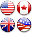 Shiny Flag Badges USA Canada Great Britain UK vector image vector image