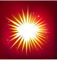 Shiny star isolated on red background vector image vector image