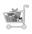 shopping cart symbol in black and white vector image
