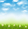 spring natural background with blue sky clouds vector image vector image