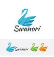 swan origami logo vector image vector image