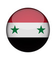 syria flag in glossy round button of icon syria vector image