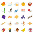tasty icons set isometric style vector image