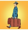 Traveler man with bags vector image vector image