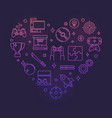 video games heart colorful outline vector image vector image