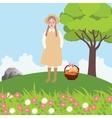 village girl bring bags bread in field outdoor vector image vector image