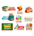 welcome back to school logos isolated stationery vector image