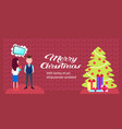 woman holding gift box present for man dreaming vector image vector image