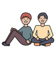 young lovers couple seated characters vector image vector image