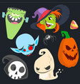 cute cartoon halloween characters icon set vector image