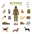 Hunting equipment kit with rifle knife suit vector image